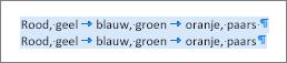 Voorbeeld van brontekst die gereed is voor converteren naar een tabel