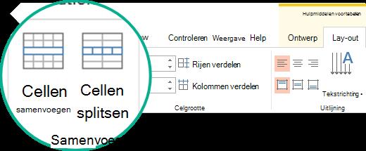 Tabelcellen samenvoegen of splitsen
