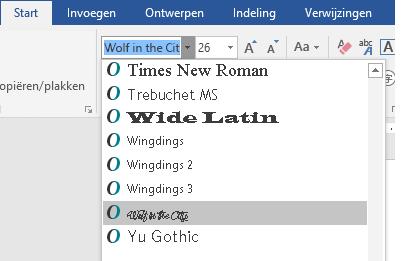 Het nieuwe lettertype wordt nu weergegeven in de lijst met lettertypen in Word.