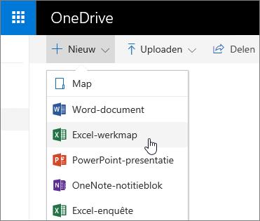 Het menu Nieuw in OneDrive, de opdracht Excel-werkmap