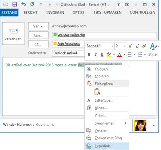 De opdracht Hyperlink in het snelmenu van tekst in een e-mailbericht