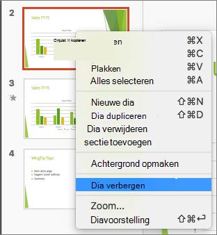 Schermafbeelding ziet u een dia is geselecteerd en het snelmenu met de ingeschakelde optie voor de dia verbergen.