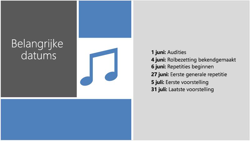 Voorbeelddia met een teksttijdlijn waaraan door PowerPoint Designer een illustratie en ontwerpaccenten zijn toegevoegd