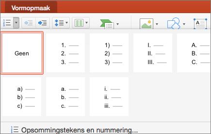 Schermafbeelding van de beschikbare nummeringsstijlen wanneer u de pijl op de knop Nummering selecteert