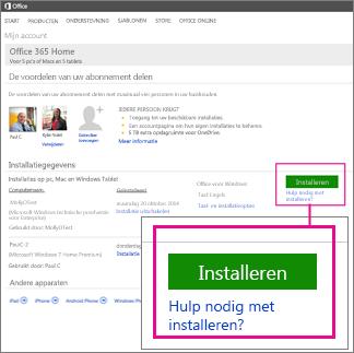 Afbeelding van de knop Installeren en de koppeling Hulp nodig bij de installatie? die u kunt kiezen voor meer hulp.