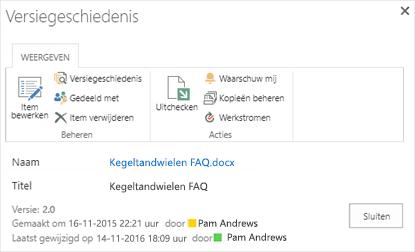 Dialoogvenster voor de versie van de SharePoint-2016 geschiedenis