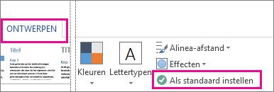 De optie Als standaard instellen voor thema's van Word op het tabblad Ontwerpen