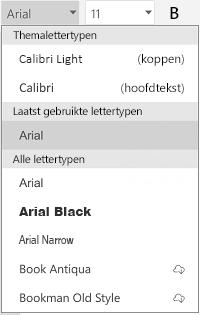 Lijst met lettertypen
