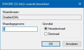 Register-editor waarde 0