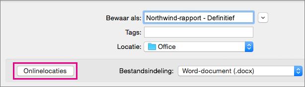 Klik in het menu Bestand op Opslaan Als en klik op Onlinelocaties om een document op te slaan op een onlinelocatie.