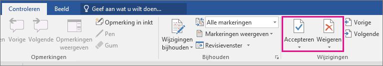 De opties Accepteren en Negeren zijn gemarkeerd op het tabblad Controle.