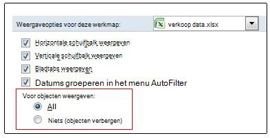 Opties voor het weergeven en verbergen van objecten in het dialoogvenster Opties voor Excel
