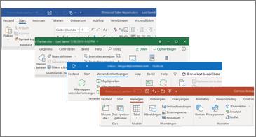 Bijgewerkte visuals op het lint voor Word, Excel, PowerPoint en Outlook