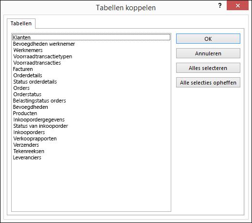 Een tabel selecteren waarmee een koppeling moet worden gemaakt in het dialoogvenster Tabellen koppelen