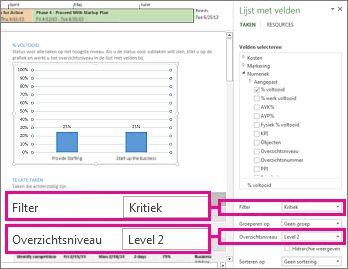 rapport projectoverzicht met deelvenster grafiekgegevens geopend