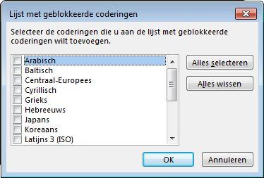 Dialoogvenster Lijst met geblokkeerde coderingen