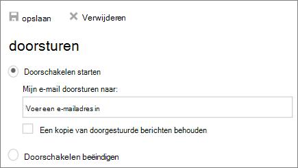 Een schermafbeelding ziet het dialoogvenster doorschakelen bij de Start doorschakelen de optie is geselecteerd.