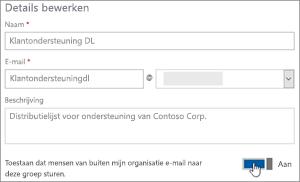 Schermafbeelding: Wisselschakelaar aanzetten zodat externe leden kunnen verzenden naar een dl