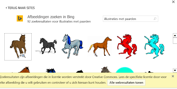 Door te zoeken naar 'illustraties paard' ziet u diverse afbeeldingen onder een Creative Commons-licentie.