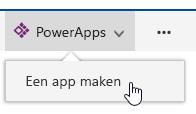 Op PowerApps klikken en vervolgens klikken op App maken.
