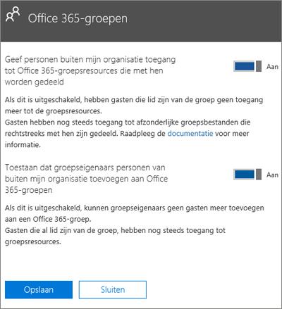 Toestaan dat personen buiten mijn organisatie toegang hebben tot Office 365-groepen en resources