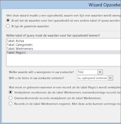 Opties die u kunt kiezen in de wizard Opzoeken