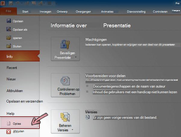 Klik op opties op het tabblad bestand van het lint in PowerPoint 2010.