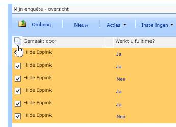 In het scherm Sitebeheer klikt u, als Enquête is geselecteerd, op het pictogram Alles selecteren.