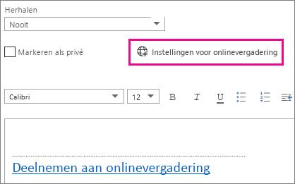 Knop Instellingen voor onlinevergaderingen in Outlook Web App