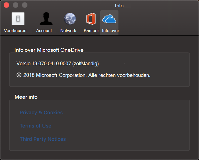 OneDrive voor Mac - Info-interface