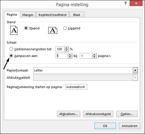 Definieer de optie Aanpassen aan in het dialoogvenster Pagina-instelling.