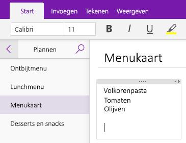 Schermafbeelding van een container met notities op een pagina in OneNote
