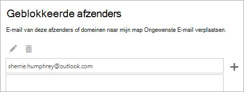 Schermafbeelding van het vak geblokkeerde afzenders