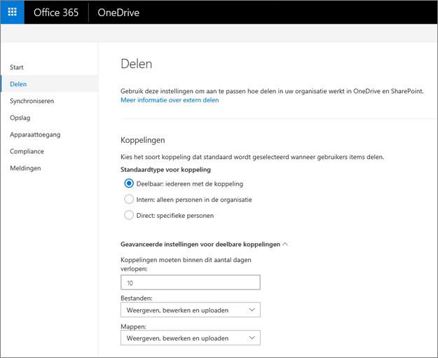 Koppelingsinstellingen op de pagina Delen van het OneDrive-beheercentrum