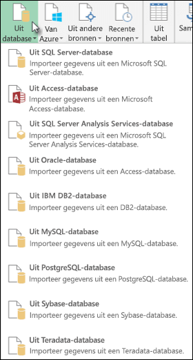 Opties in Uit database van Power Query