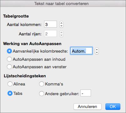 Opties voor het converteren van tekst naar een tabel