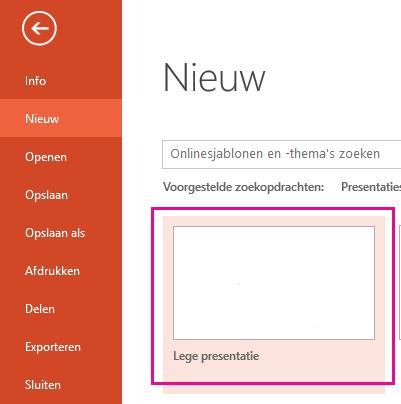 Kies Lege presentatie in het scherm Nieuw.