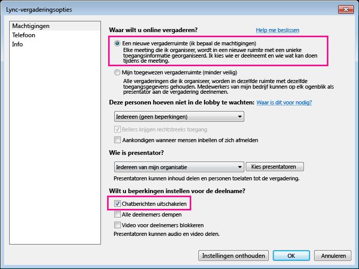 Schermafbeelding van chatberichten uitschakelen in het venster Lync-vergaderingsopties