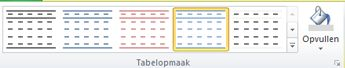 Tabelopmaakinterface in Publisher 2010