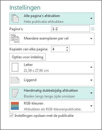 Instelling voor afdrukken op beide zijden van het papier in Publisher.