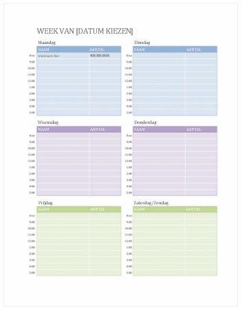 Kalender met wekelijkse afspraken (Word)