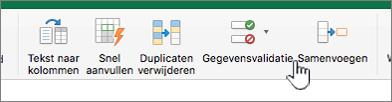 Het menu Gegevens op de Excel-werkbalk waarin Gegevensvalidatie is geselecteerd