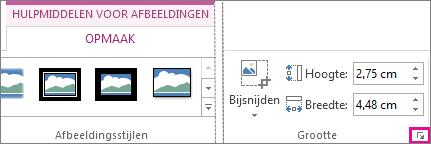 startpictogram van het dialoogvenster in de groep grootte op het tabblad hulpmiddelen voor afbeeldingen - opmaak
