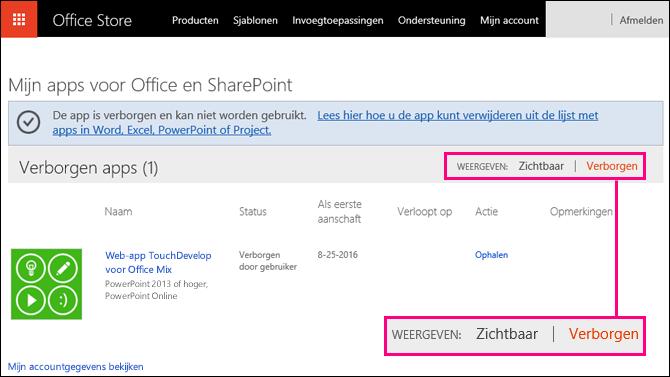 Verborgen koppeling gemarkeerd op de pagina Office Store-invoegtoepassingen