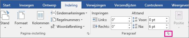 De pijl om het dialoogvenster Alinea te openen is gemarkeerd op het tabblad Indeling.