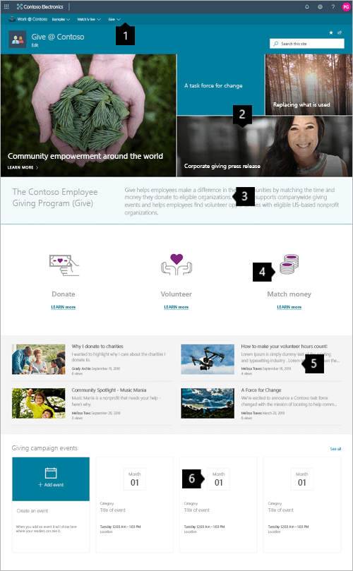 Voorbeeld van een modern Giving-site in SharePoint Online