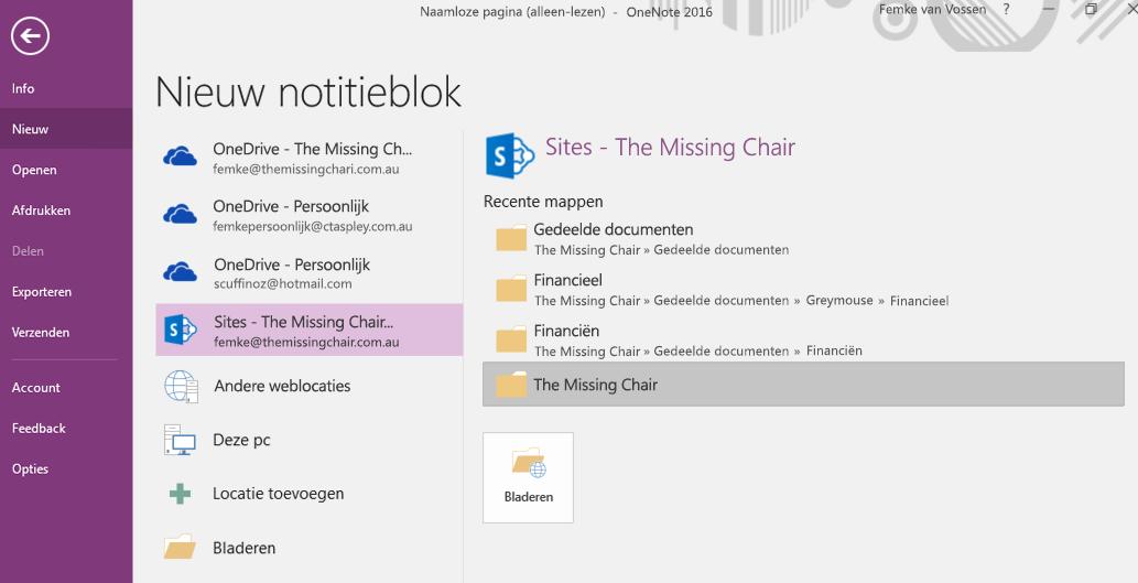 OneNote voor Windows 2016 - Interface 'Map kiezen voor nieuw notitieblok'