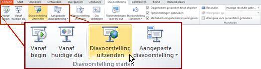diavoorstelling uitzenden in de groep diavoorstelling starten op het tabblad diavoorstelling in powerpoint 2010.