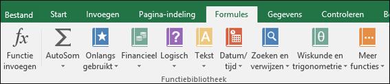 Het tabblad Formules op het lint in Excel