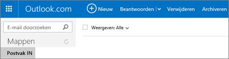 Zo ziet het lint eruit als u Outlook.com of Hotmail.com gebruikt